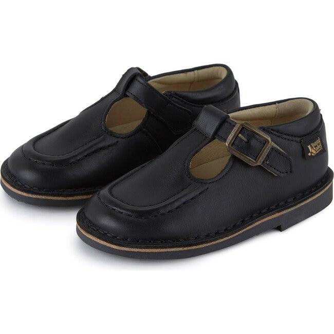 Parker Velcro T-bar Shoe Black Leather