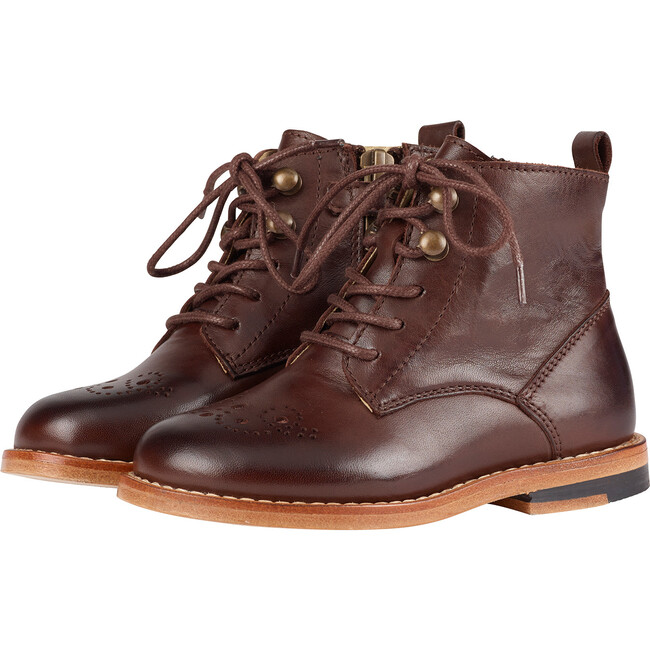 Buster Brogue Boot Dark Brown Burnished Leather
