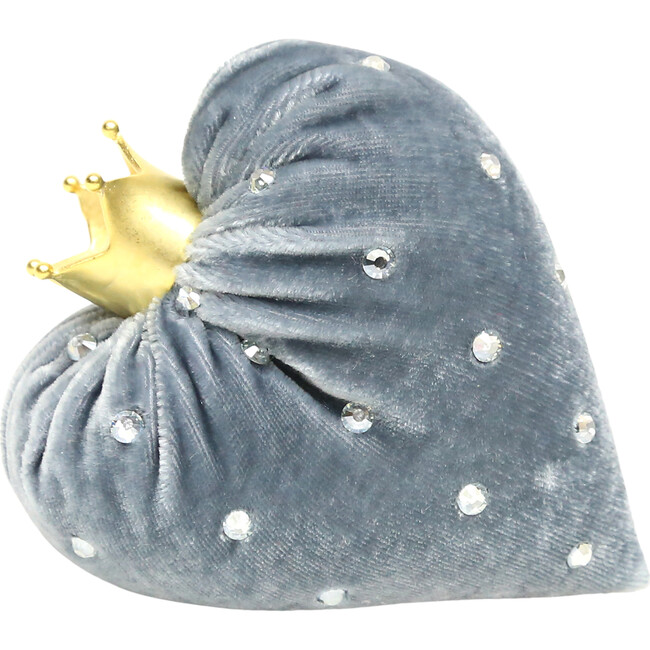 Exlusive Velvet Heart, Blue with Crystals
