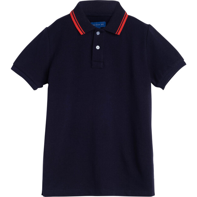 James Polo Shirt, Navy with Red Trim