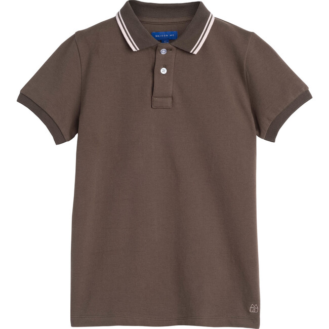 James Polo Shirt, Dusty Olive with Pink Trim - Shirts - 1