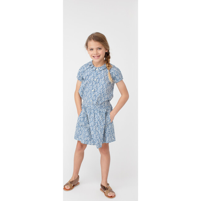 Stella Short Sleeve Pleated Collar Top, Blue Ditsy Floral