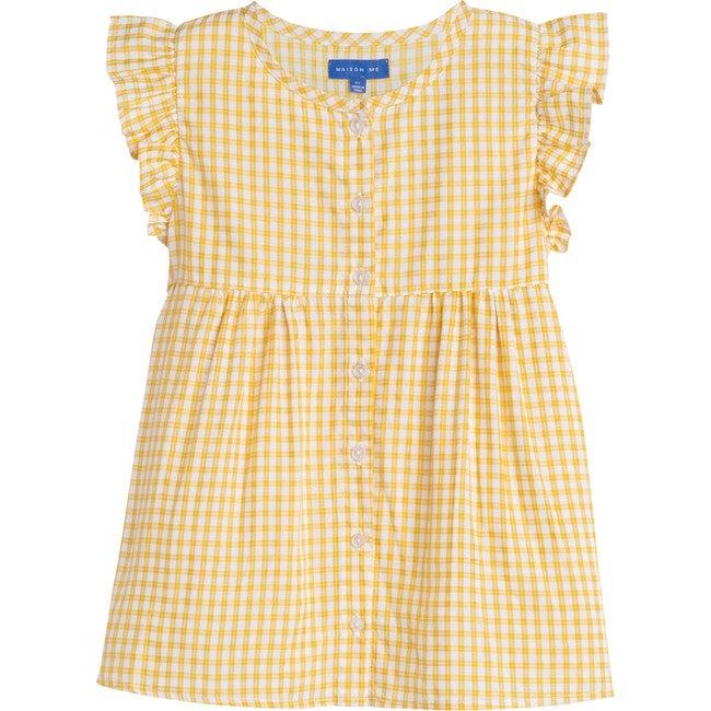 Lucy Ruffle Top, Marigold Check - Shirts - 1