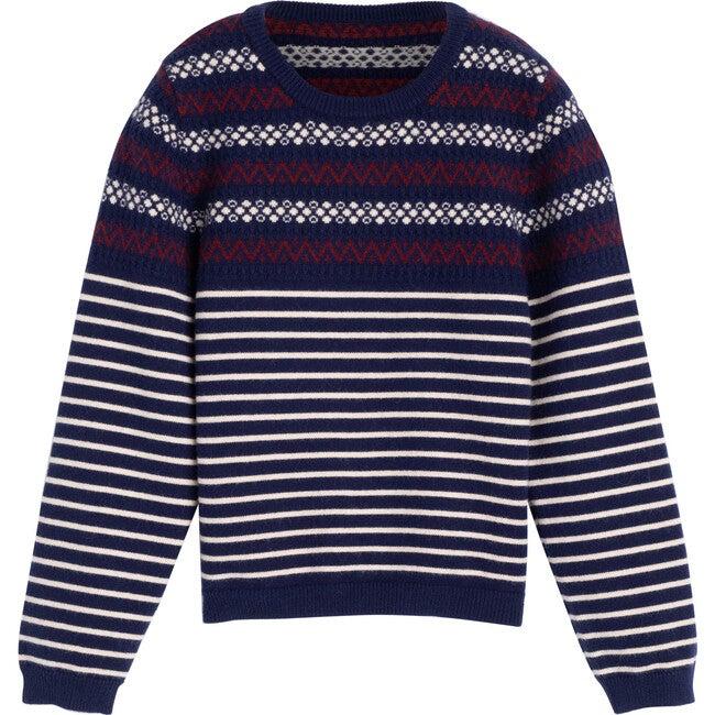 Blair Fairisle Stripe Sweater, Navy Multi - Sweaters - 1