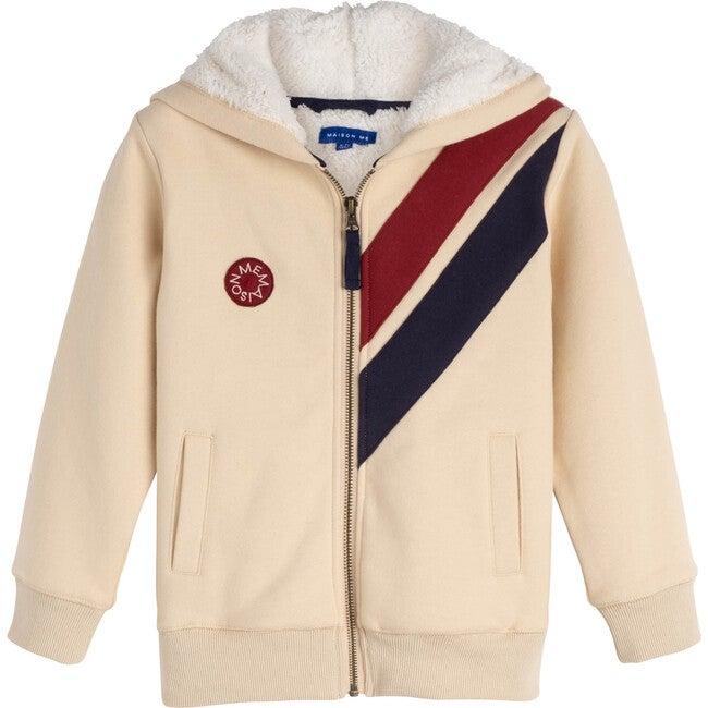 Benji Double Stripe Sherpa Hoodie, Cream