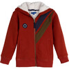 Benji Double Stripe Sherpa Hoodie, Brick - Sweatshirts - 1 - thumbnail