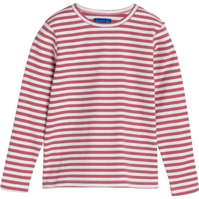 Ruby Ribbed Long Sleeve, Darker Dusty Rose Stripe - Shirts - 1