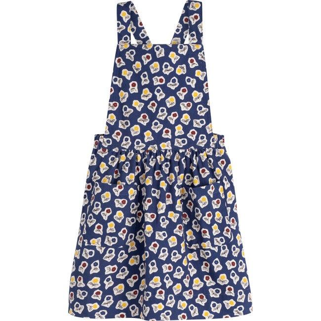 Millie Pinafore Dress, Blue Cut Out Flower