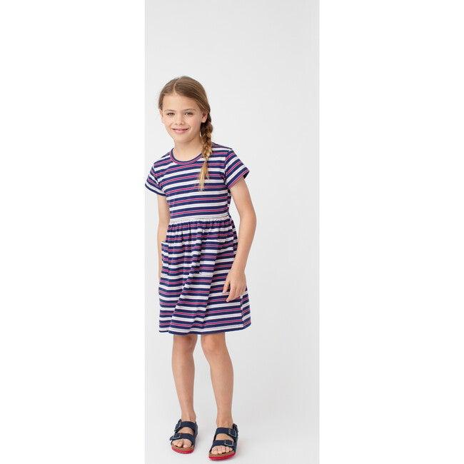 Pippa Jersey Dress, Navy Multi Stripe