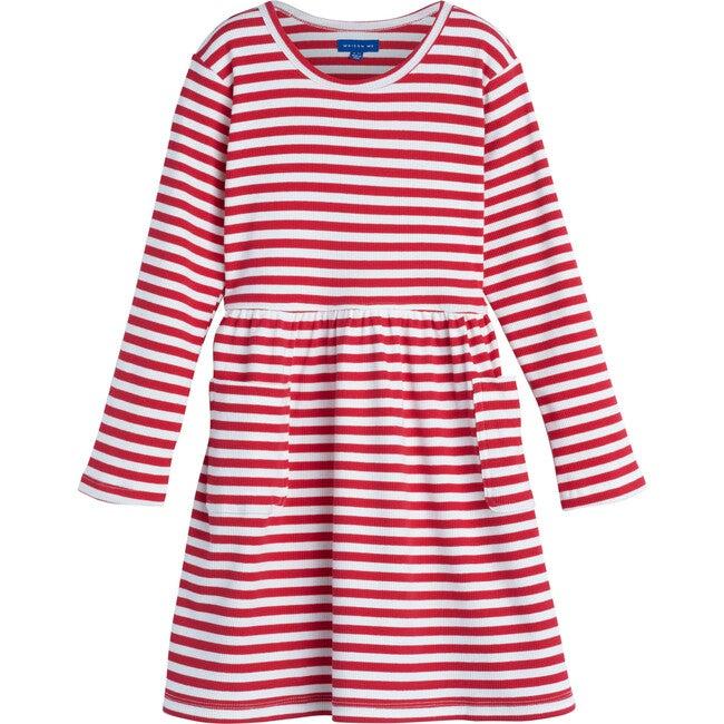Marley Ribbed Long Sleeve Dress, Red Stripe - Dresses - 1