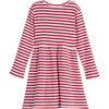 Marley Ribbed Long Sleeve Dress, Red Stripe - Dresses - 2