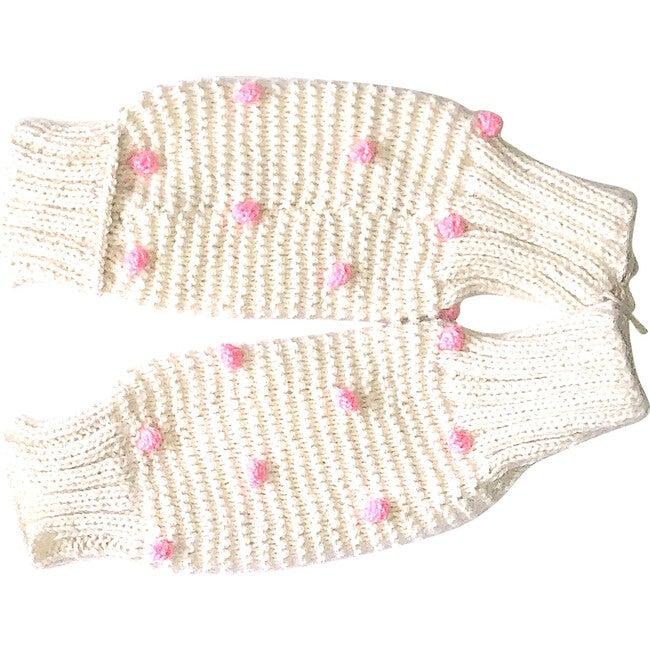 Leg Warmers Ivory/ Pink Dot