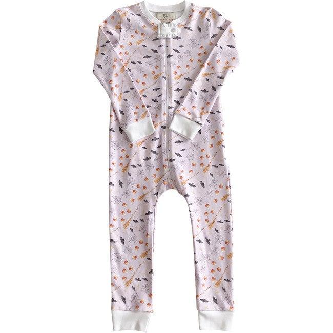 Hocus Pocus Halloween Pima Cotton Zip Up Pajamas, Lavender
