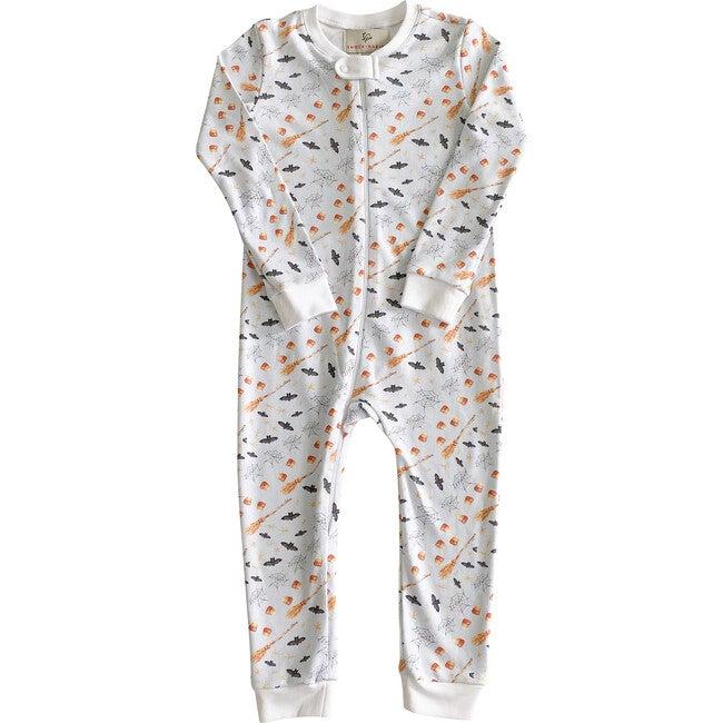 Hocus Pocus Halloween Pima Cotton Zip Up Pajamas, Blue