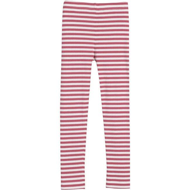 Reese Ribbed Legging, Darker Dusty Rose Stripe - Leggings - 1