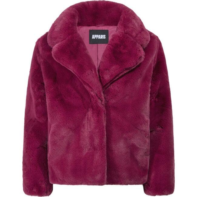 Milly Women's Faux Fur Jacket, Raspberry