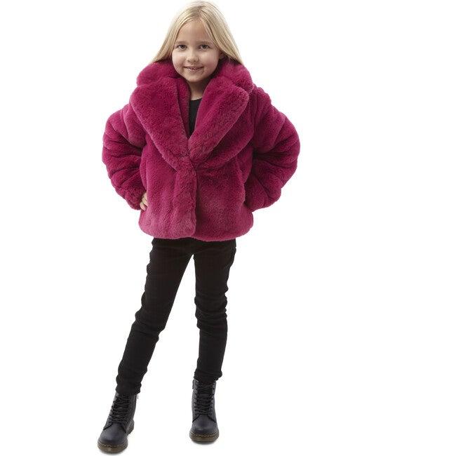 Milly Kids Faux Fur Jacket, Raspberry