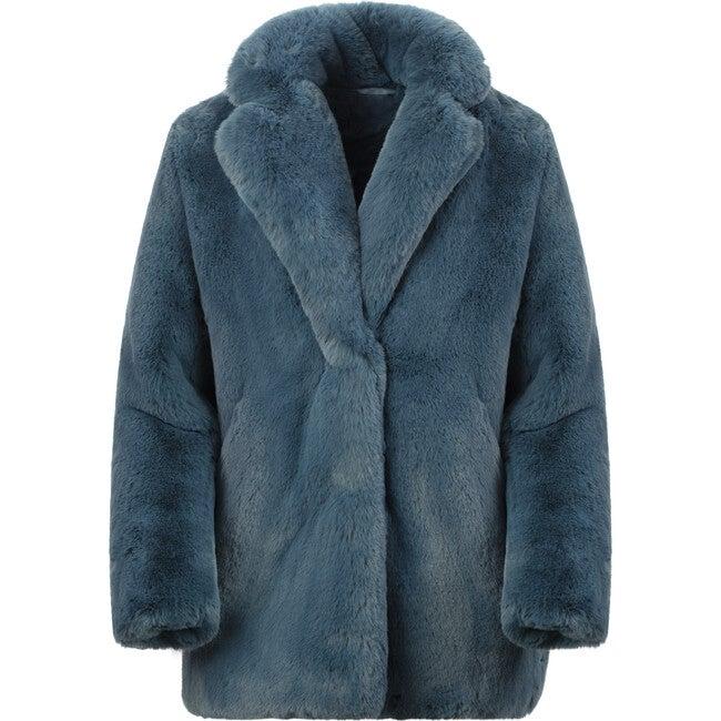 Stella KidsFaux Fur Jacket, Stone Blue