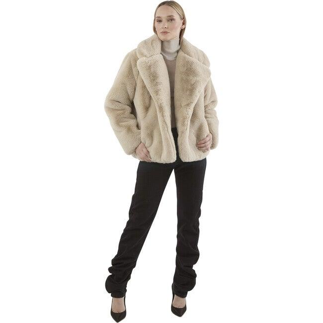 Milly Women's Faux Fur Jacket, Latte