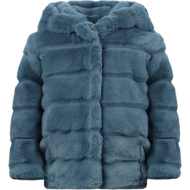 Goldie Kids Faux Fur Jacket, Stone Blue