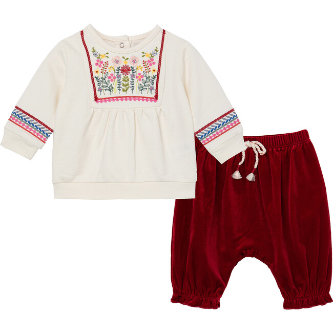 Embroidered Wintertime Pant Set, Off-White