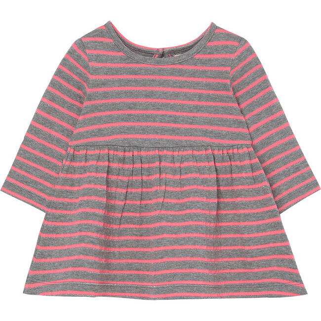 Double Knit Metallic Dress, Stripe