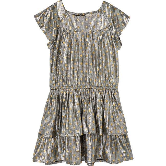 Metallic Dot Dress, Grey