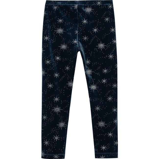 Glitter Stars Velour Legging, Navy