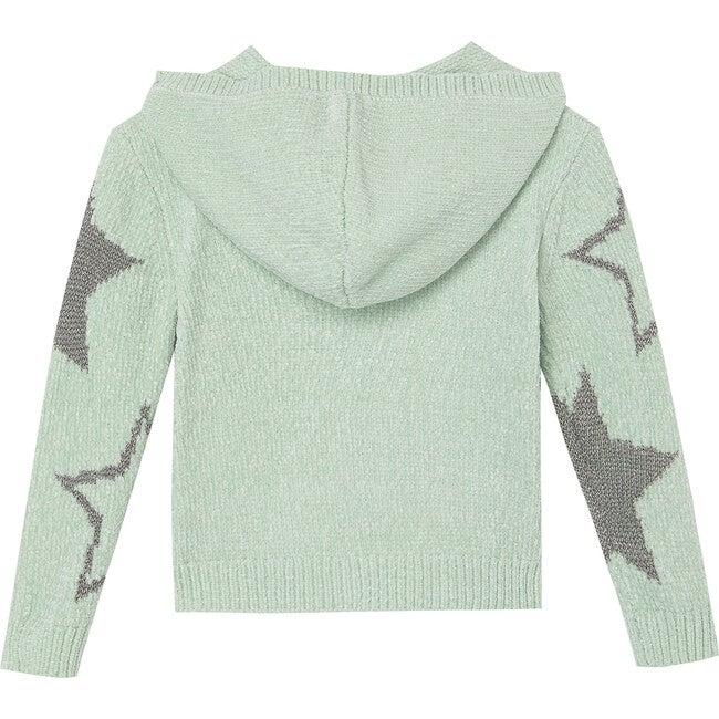 Chenille Hooded Sweater, Aqua