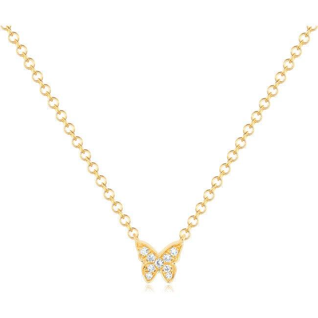 Women's 14K Mini Diamond Butterfly Necklace