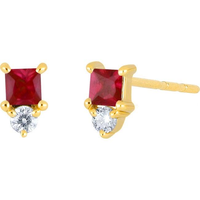 Women's 14K Single Mini Ruby Birthstone Stud Earring
