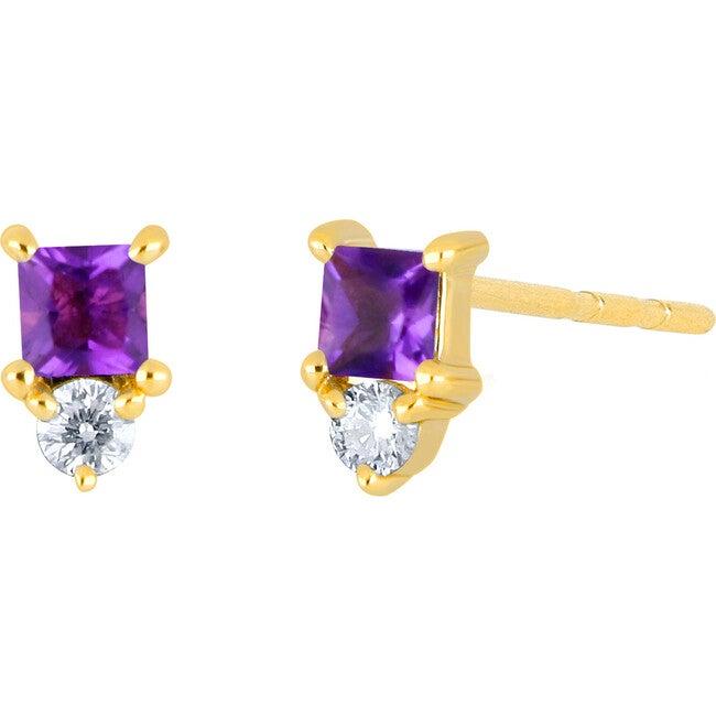 Women's 14K Single Mini Amethyst Birthstone Stud Earring