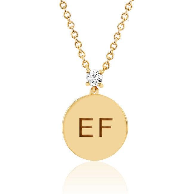 Women's 14K Engraved Initial Prong Set Diamond Disc Necklace