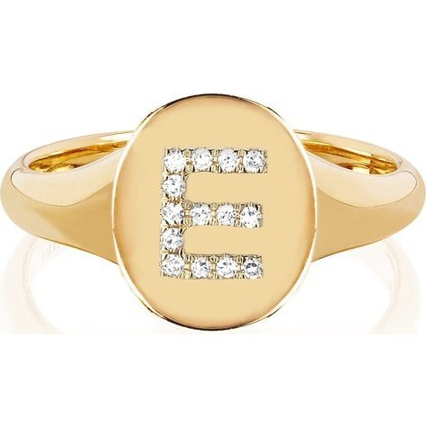 Women's 14K Gold Oval Signet With Diamond Initial Ring