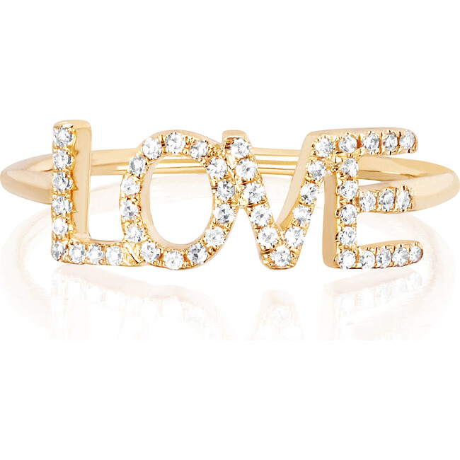Women's 14K Diamond Love Ring with Block Letters