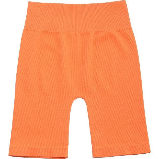 Women's Bai Ribbed Biker Shorts, Orange
