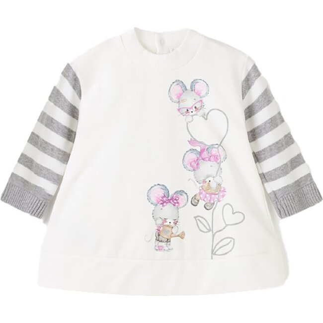 Little Mice Fleece Dress, White