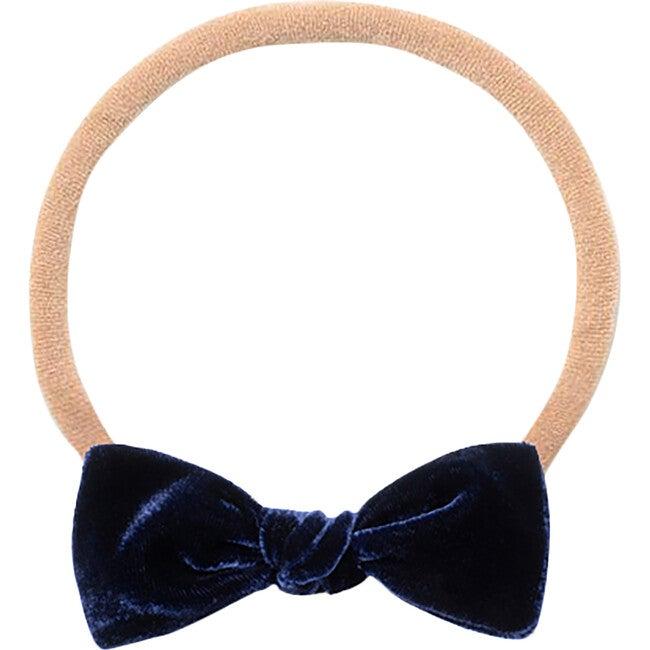 Mini Bow Headband, Cobalt Velvet