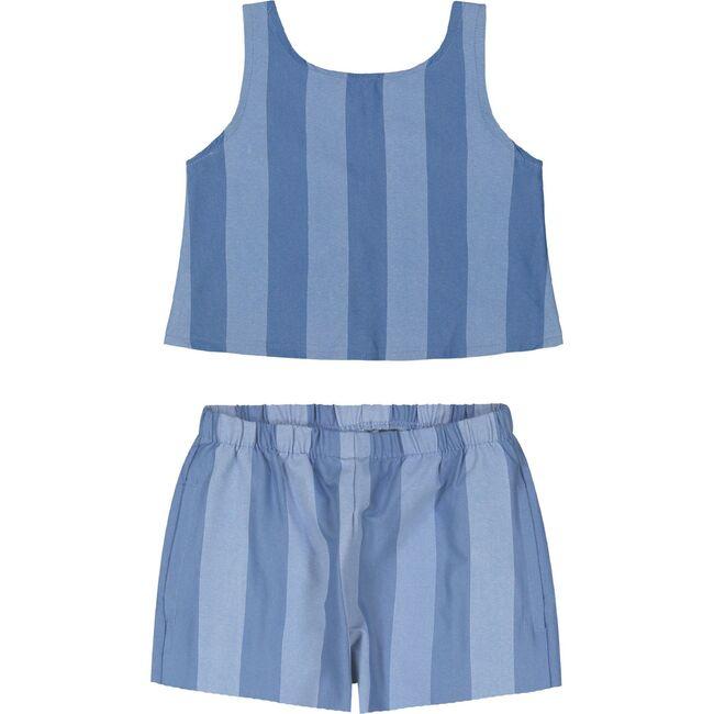 Striped Chambray Shorts Set, Blue