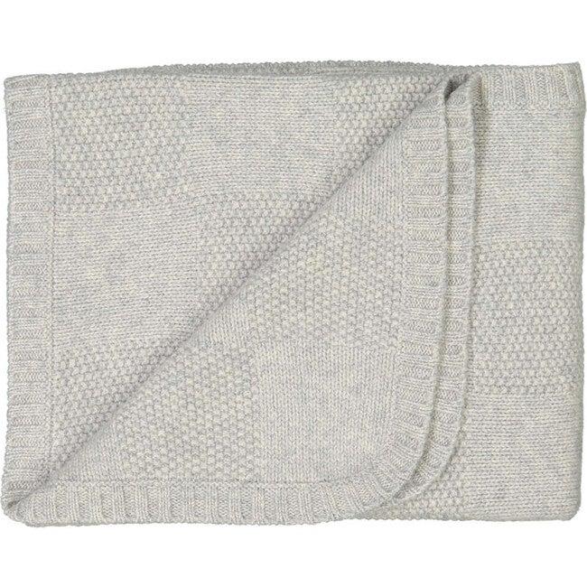 Moss Stitch Checked Baby Blanket, Light Grey