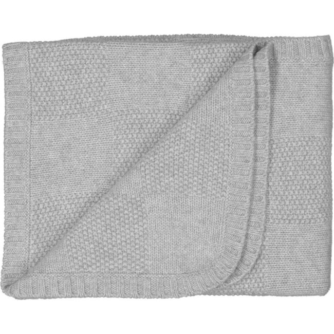 Moss Stitch Checked Baby Blanket, Grey