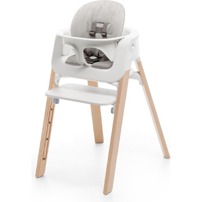 Stokke® Steps™ HighChair Complete, Natural Legs (White Seat and Grey Cushion)