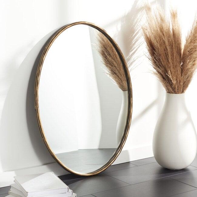 Jebediah Oval Metal Mirror, Gold