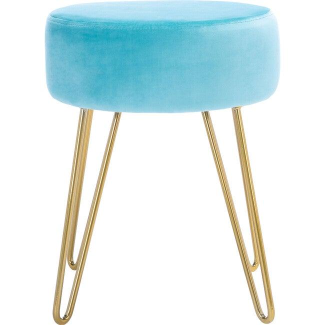 Abrea Round Ottoman, Turquoise