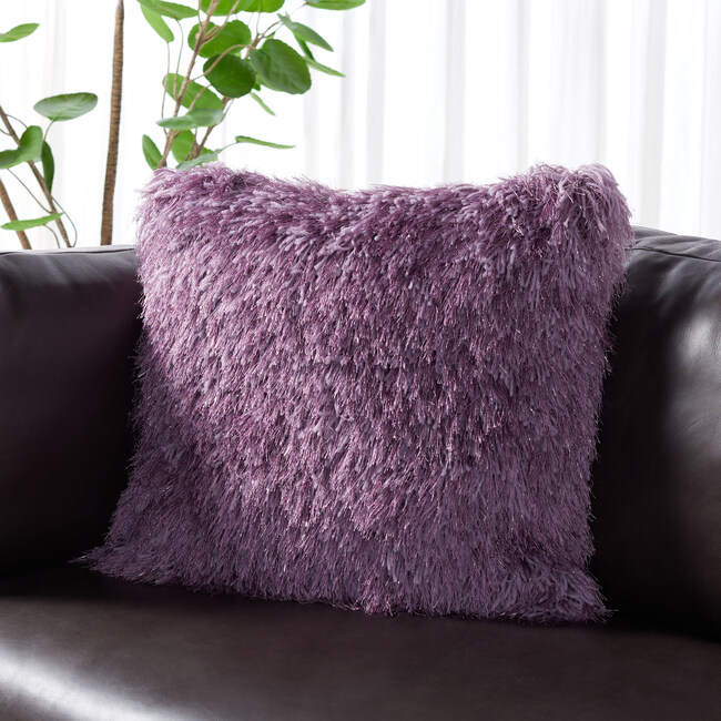 Shag Modish Metallic Pillow, Purple