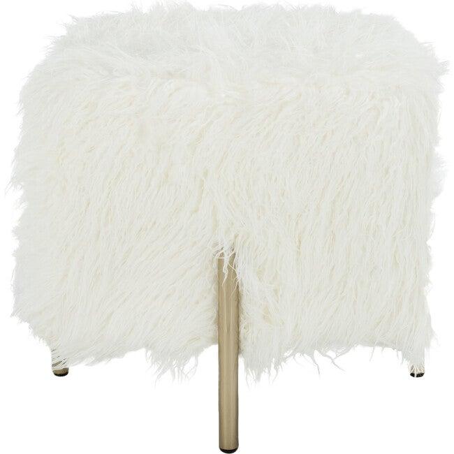 Momina Faux Fur Square Ottoman, White