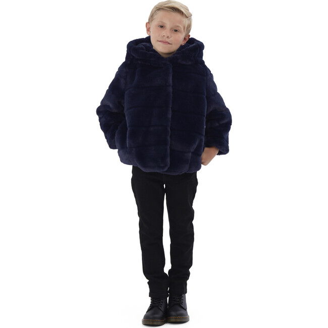 Goldie Kids Faux Fur Jacket, Navy Blue