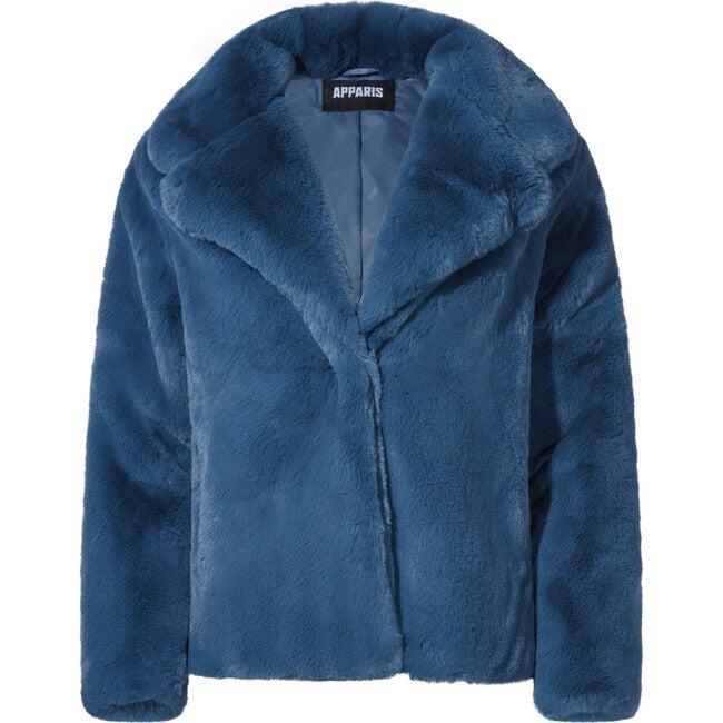 Women's Milly Faux Fur Jacket, Stone Blue