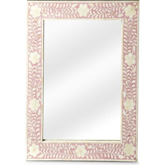 Vivienne Bone Inlay Wall Mirror, Pink - Mirrors - 1