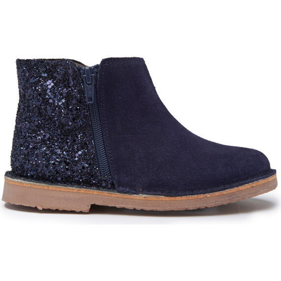 Sparkle and Suede Zipper Chelsea Boot, Navy
